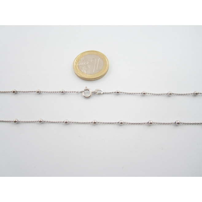 catenina pallini alternati lunga 79 cm in argento 925 rodiato made in italy