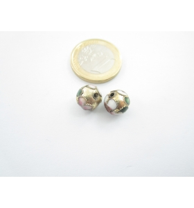 2 PERLINE SMALTATE ORO IN TECNICA CLOISONNÈ DI 10 MM FORO PASSANTE 1,2 MM