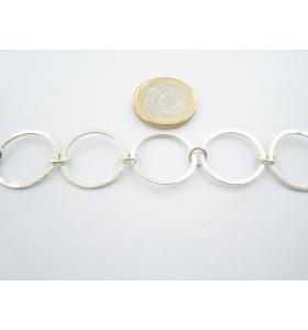 50 cm di catena in alluminio tondi  zigrinati e dorati  diametro 10 mm maglia aperta