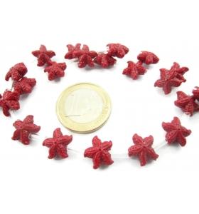 1 filo di perline forma stella marina in resina stampata color rosso