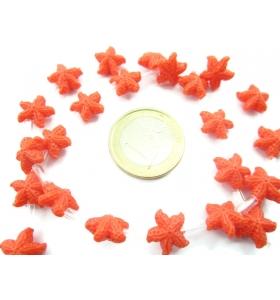 1 filo di perline forma stella marina in resina stampata color arancione