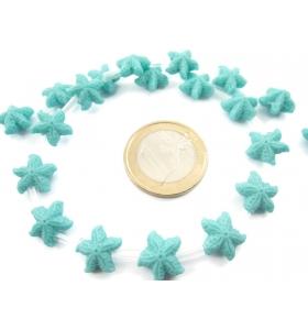 1 filo di perline forma stella marina in resina stampata color turchese