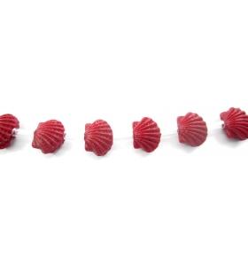 2 perline forma conchiglia marina in resina stampata color rosso
