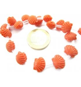 1 filo di perline forma conchiglia marina in resina stampata color arancione