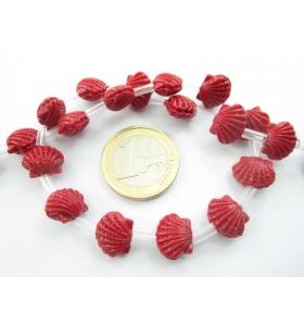 1 filo di perline forma conchiglia marina in resina stampata color rosso