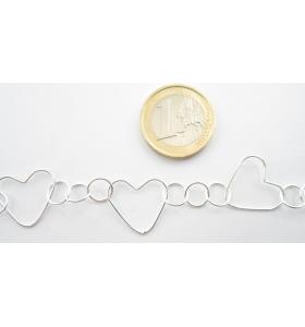 10 cm di catena argento 925  anellini e cuori conctenati
