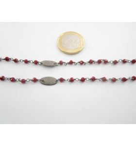 lotto ingrosso 5 metri catena rosario cristalli verde scuro e ovali ottone ramato