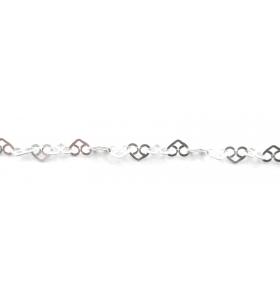 10 cm di catena argento 925  cuori 3 fori concatenati di 5x4 mm