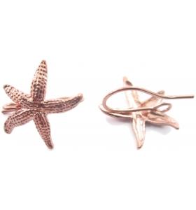 1 paio di basi orecchino stella marina puntinata argento 925 placcato oro rosa