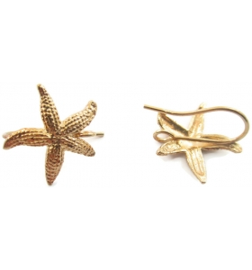 1 paio di basi orecchino stella marina puntinata argento 925 placcato oro giallo