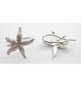 1 paio di basi orecchino stella marina puntinata argento 925 rodiato