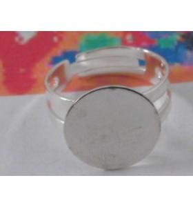 1 base anello da incollo in ottone argentato regolabile