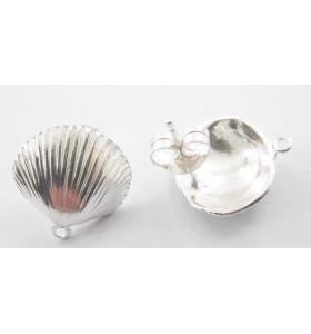 1 paio di basi orecchino  modello conchiglia argento 925 15 mm