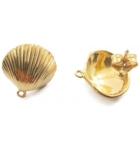 1 paio di basi orecchino  modello conchiglia argento 925 placcato oro giallo 15 mm