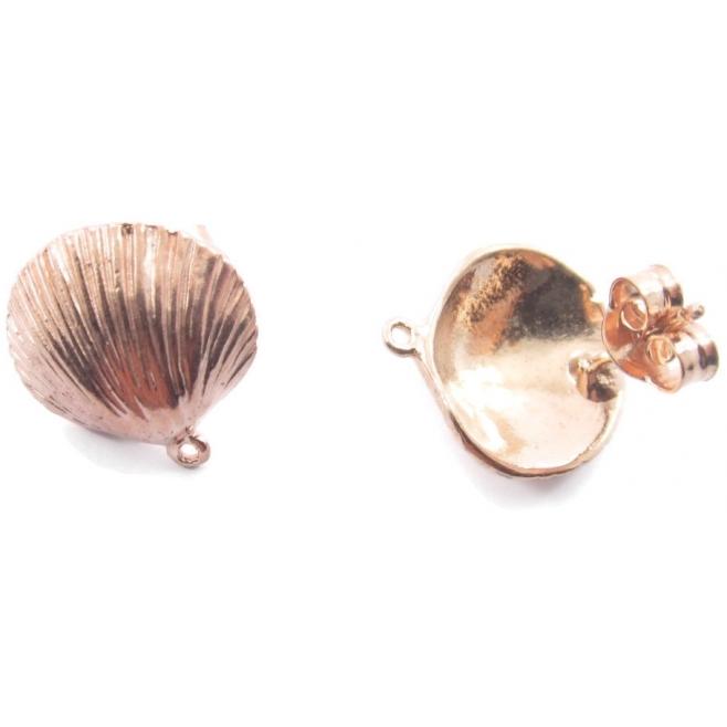 1 paio di basi orecchino modello conchiglia argento 925 placcato oro rosa 15 mm