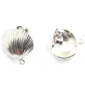 1 paio di basi orecchino  modello conchiglia argento 925 rodiati 15 mm