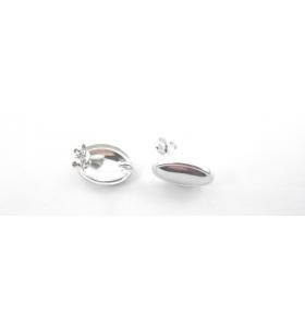 1 paio di basi orecchino  modello ovale liscio lucido argento 925 rodiati 16x11  mm