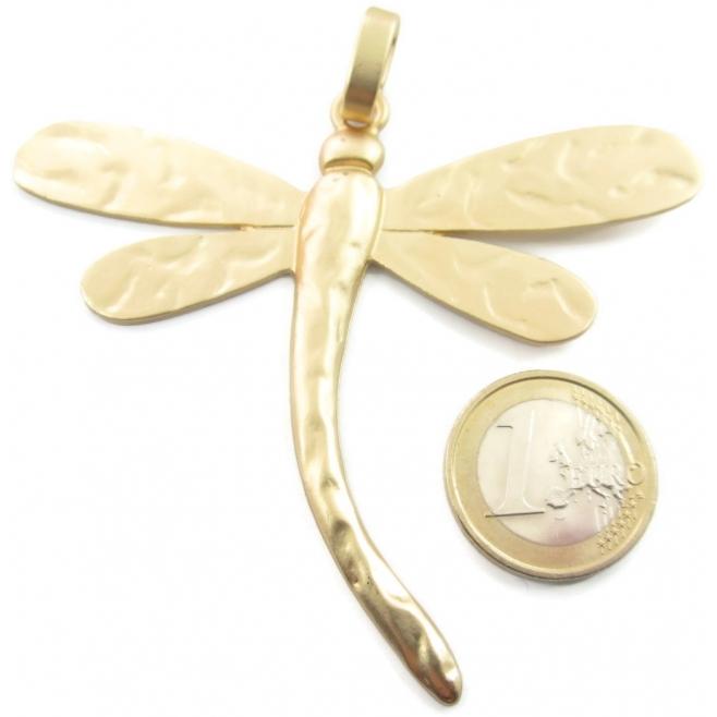 1 grande ciondolo centrale libellula in zama placcato oro satinato di 85x84 mm