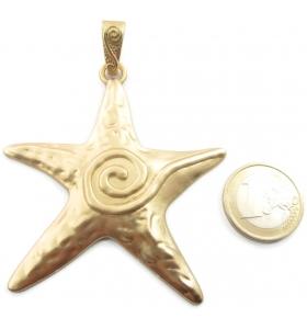 1 grande ciondolo centrale stella marina 1 in zama placcato oro satinato di 90x67 mm