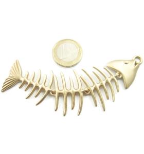 1 grande ciondolo centrale lisca di pesce snodato in zama placcato oro satinato di 107x32 mm