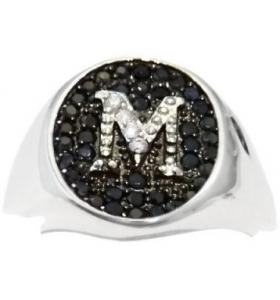 anello unisex iniziale lettera M in zirconi bianchi su pavè di zirconi neri argento 925 rodiato