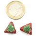 2 triangoli smaltati in tecnica cloisonnè di 13x13 mm foro passante 1,2 mm