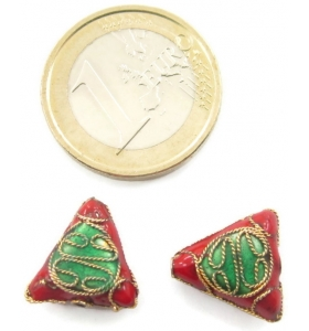 2 triangoli smaltati in tecnica cloisonnè di colore rosso 13x13 mm foro passante 1,2 mm