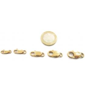 1 moschettone piccolo di 12x5,5 mm argento 925 placcato oro giallo serie lunga