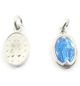 1 ciondolo charms  madonnina di 16x8 mm incluso l'anellino in argento 925  rodiato e smalto blu