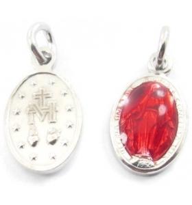 1 ciondolo charms  madonnina di 16x8 mm incluso l'anellino in argento 925  rodiato e smalto rosso