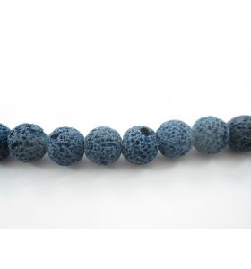 6 pietre in lava vulcanica di colore blu da 12 mm.