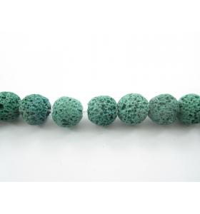 6 pietre in lava vulcanica di colore verde da 12 mm.