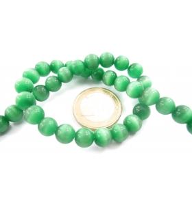 1 filo di perle verdi in occhio di gatto cabochon di 8 mm