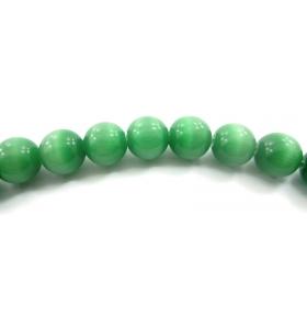 6  perle verdi in occhio di gatto cabochon di 8 mm