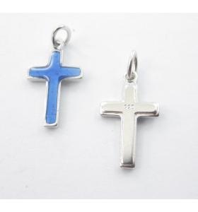 ciondolo charms croce smaltata azzurro argento 925 rodiato di 16x10 mm