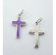 ciondolo charms croce smaltata viola argento 925 rodiato di 16x10 mm