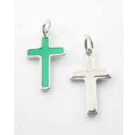 ciondolo charms croce smaltata verde argento 925 rodiato di 16x10 mm