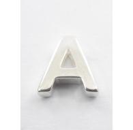 lettera iniziale A foro passante argento 925 di 8,5x8 mm