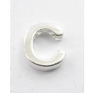 lettera iniziale C foro passante argento 925 di 8,5x8 mm