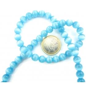 1 filo di perle azzurre in occhio di gatto cabochon di 8 mm