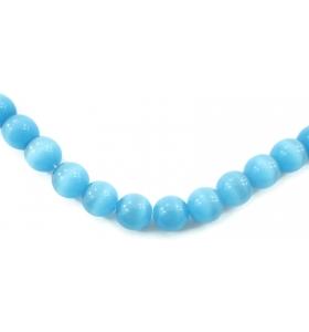 4  perle azzurri in occhio di gatto cabochon di 10 mm
