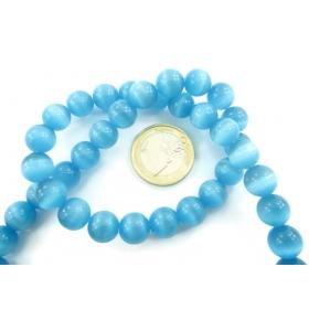 1 filo di perle azzurre in occhio di gatto cabochon di 10 mm