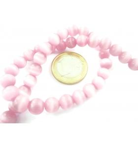 1 filo di perle rosa antico in occhio di gatto cabochon di 10 mm