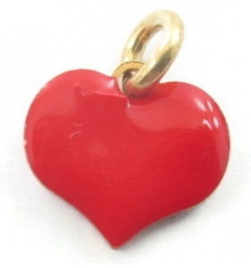 ciondolo charms cuore smaltato rosso in argento placcato oro giallo 8x8 mm 1 pz