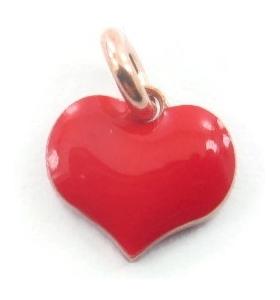 ciondolo charms cuore smaltato rosso in argento placcato oro rosa 8x8 mm 1 pz