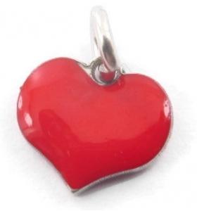 ciondolo charms cuore smaltato rosso in argento 925 rodiato 8x8 mm 1 pz