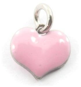 ciondolo charms cuore smaltato rosa in argento 925 rodiato 8x8 mm 1 pz