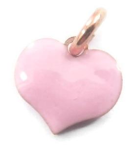 ciondolo charms cuore smaltato rosa in argento 925 placcato oro rosa 8x8 mm 1 pz