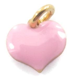 ciondolo charms cuore smaltato rosa in argento 925 placcato oro giallo 8x8 mm 1 pz
