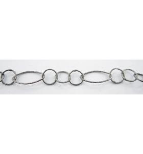 10 cm di catena ovali e tondi diamantati argento 925 rodiate nera